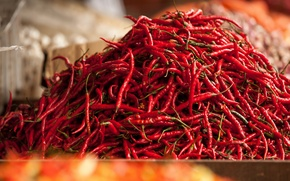 Picture red, pepper, a lot, vegetable, Chile, market, Bazaar, Malaysia