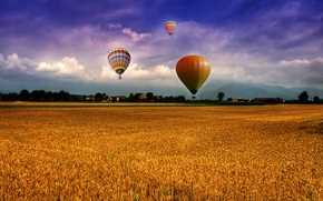 Wallpaper the sky, clouds, mountains, balloons, Field, houses, the village