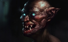 Picture eyes, face, fangs, vampire, the old man, old, ears