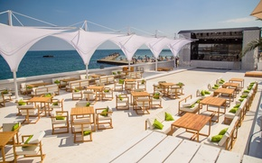 Picture beach, the city, terrace, tables, Odessa