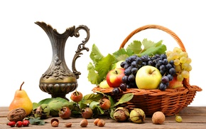 Picture table, basket, apples, briar, grapes, pear, pitcher, fruit, nuts, still life