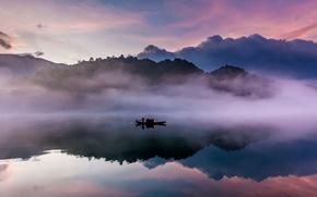 Wallpaper fog, river, boat, China, East River, Guangdong province