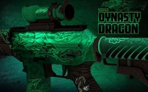 Picture green, dragon, symbol, paint, workshop, emerald, cs go, presentation, SG553, dynasty dragon