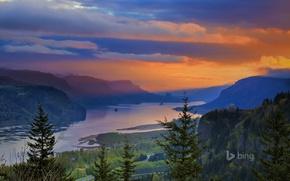 Wallpaper the Columbia river, Crown Point, mountains, nature, glow, trees, Oregon, USA