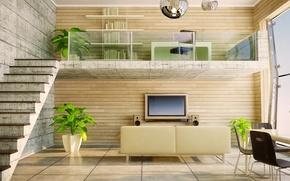 Picture table, sofa, plants, light, TV, window, ladder