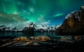 Picture mountains, night, Northern lights, Norway