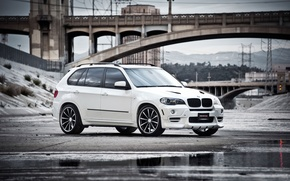 Picture puddle, bridge, reflection, the front part, white, crossover, BMW, white, BMW