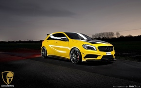 Picture yellow, lights, tuning, Mercedes-Benz, drives, front, AMG, yellow, beautiful, sports, A45, RevoZport, Mulgari