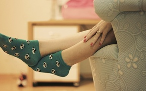 Picture girl, background, feet, mood, figure, hand, ring, Panda, socks, fingers, decoration, HD wallpapers, Wallpaper for ...