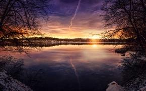 Picture the sun, sunset, lake, treatment, Peaceful Lake