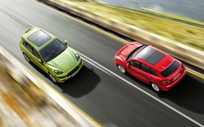 Picture road, red, speed, jeep, green, Porsche Cayenne