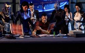Picture table, work, collage, art, Ashley, Mass Effect 3, Liara, Jack, Tali, Shepard, Miranda, Shepard and …