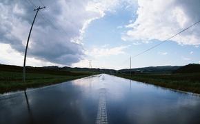 Wallpaper post, water, rain, Road