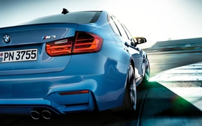 Picture blue, bmw, BMW, track, shadow, turn, sedan, the curb