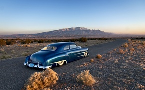 Picture road, the sky, mountains, Chevrolet, horizon, classic, rear, 1951, custom, side, chopped