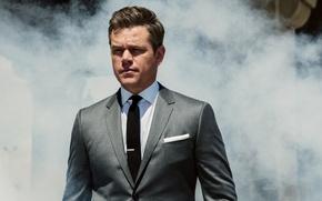 Wallpaper smoke, costume, actor, Matt Damon, photoshoot, Matt Damon, Sebastian Kim