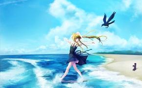Picture sand, sea, girl, joy, nature, mood, bird, art, air, kamio misuzu, into deep shit