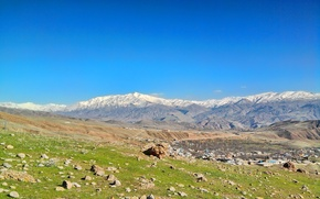 Picture mountain, blue sky, iran, alborz, quazvin