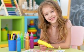 Picture smile, child, girl, draws, child, Little girls