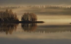 Picture autumn, fog, lake, boat