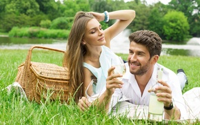 Picture girl, nature, wine, basket, glasses, pair, guy, lovers, weed