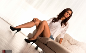 Picture look, sexy, heels, brown hair, legs, view, photographer, posing, leggy, sitting, face, Chic, Burkhard