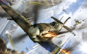 Wallpaper fire, aircraft, shooting, in the sky, Spitfire, prosecution, dogfight, World of Warplanes, tracers