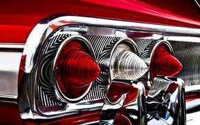 Picture reflection, lights, Chevrolet, red, Chevrolet, red, rear, Impala, Impala, rear lights, chrome parts
