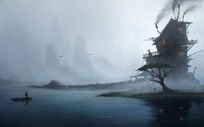 Picture fog, house, people, tree, boat, art, Emmanuel Shiu