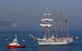 Picture sea, sailboat, tug, boats, schooner, Juan Sebastian de Elcano