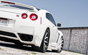 Picture white, the sky, wall, Nissan, white, GT-R, Nissan, the rear part