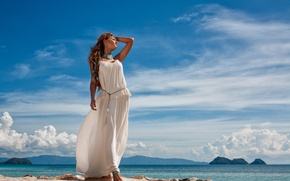 Picture sea, the sky, girl, the sun, clouds, landscape, dress, brown hair, is, in white, on …