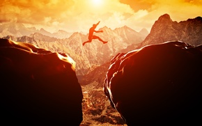 Picture sunset, jump, rocks, adventure
