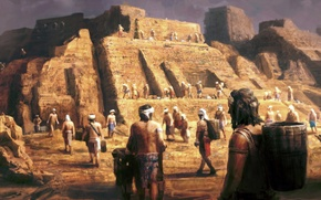 Picture painting, concept art, Pyramid