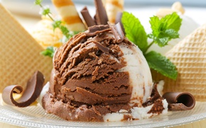 Picture ice cream, dessert, dessert, chocolate, waffles, ice cream, sweet, chocolate