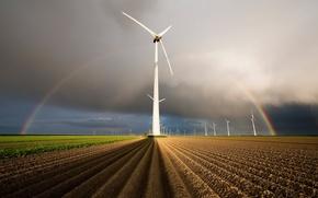Picture field, rainbow, windmills