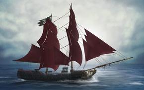 Picture sea, ship, deck, render, mast