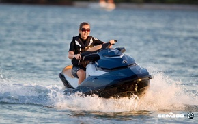 Picture water, girl, squirt, jet ski, brp, seadoo, sea doo, sea-doo
