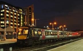Picture lights, station, the evening, the platform, railroad, passenger train