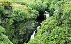 Picture grass, water, rocks, waterfall, stream, Scotland, shrub, Isle of Skye