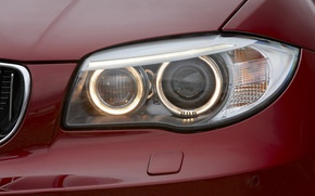 Picture close-up, red, lights, power, BMW, coupe