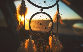 Picture sunset, feathers, dreams, catcher