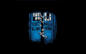 Picture cracked, Windows, hands, door, booth, black background, Doctor Who, Doctor Who, The TARDIS, glass, TARDIS, …