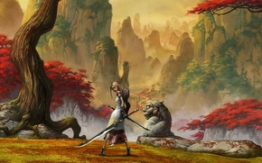 Picture mountains, sword, Sakura, Alice