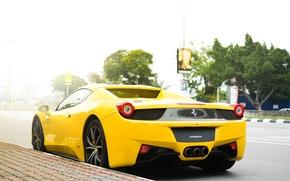 Picture yellow, street, Ferrari, Ferrari, 458, italia, yellow, Italy, street