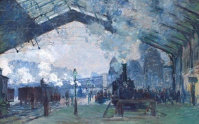 Wallpaper picture, Claude Monet, genre, The Station Saint-Lazare. The Train From Normandy