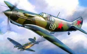 Picture fire, war, fighter, bomber, Lavochkin-Gorbunov-Gudkov, LaGG-3, lined, He 111, Heinkel