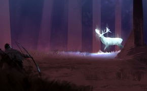 Wallpaper art, trees, deer, hunter, night, grass, forest, bow