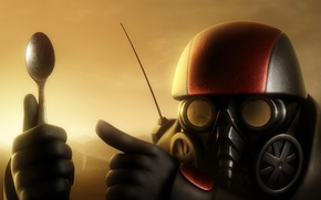 Wallpaper red, gas mask, Spoon