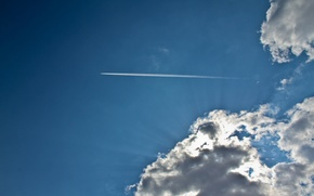 Picture the sky, clouds, rays, light, the plane, blue, sky, blue, clouds, airplane